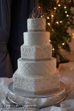 Gem Ribbon, Stitching Swirls Classic and Elegant Elegant wedding cakes, Wedding Wedding Cake Prices, Floral Wedding Cakes, Fall Wedding Cakes, Elegant Wedding Cakes, Elegant Cakes, Beautiful Wedding Cakes, Wedding Cake Designs, Wedding Cupcakes, Hexagon Wedding Cake