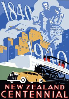 NEW ZEALAND Vintage 1940's Centennial Travel Poster