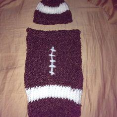 Cuddle sack -snuggle bag.  Football. Loom knit