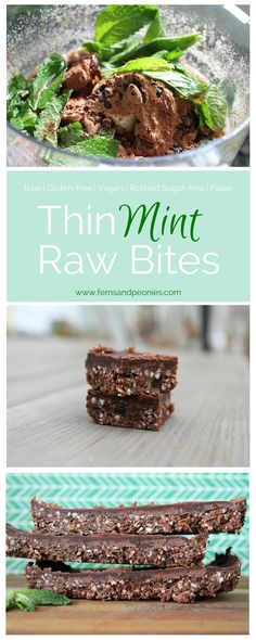Thin Mint Raw Bites that are amazngly gluten-free, vegan, refined sugar-free and paleo Paleo Dessert, Raw Vegan Desserts, Sugar Free Desserts, Vegan Treats, Raw Food Recipes, Gluten Free Recipes, Dessert Recipes, Cooking Recipes, Sugar Free Snacks