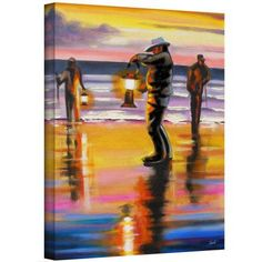 Susi Franco Pacific Northwest Razor Clammers Gallery-Wrapped Canvas Art, Size: 18 x 24, Blue
