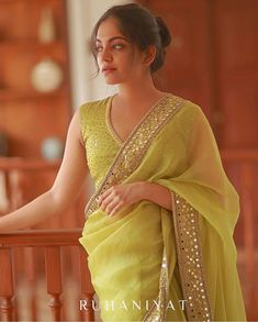 """Ruhaniyat"" Featuring - Acid green organza Saree with ghota pathi and mirror worked border paried with a silk blouse . Simple Sarees, Trendy Sarees, Stylish Sarees, Fancy Sarees, Saree Blouse Patterns, Saree Blouse Designs, Saree Designs Party Wear, Party Wear Sarees, Stylish Blouse Design"
