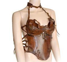Steampunk corset Halloween Steampunk bra leather by FamilySkiners