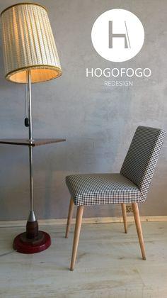 Monochromatyczna tkanina w pepitkę i nogi z surowego drewna nadają charakteru temu polskiemu projektowi z lat 60.  Krzesło zostało odszukane i odnowione przez duet kreatywny HOGOFOGO redesign. Zobacz inne nasze prace https://www.facebook.com/hogofogoredesign