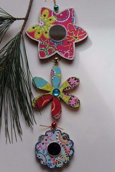 3 Part Mirror Flower Original Sybille Lichtenstein Christmas Wood Slice Ornament