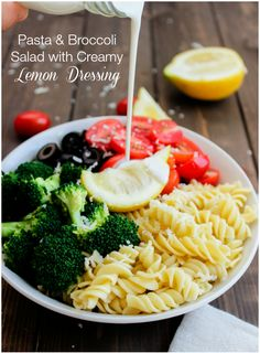 This Pasta  Broccoli Salad with Creamy Lemon Dressing is the perfect healthy spring salad.