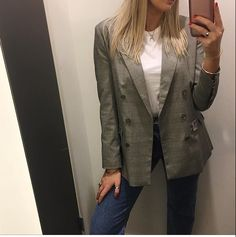 One of our loyal customers rocking a grey Blazer with our handmade hammered bangle and silver signet ring. What a great combo!! @prudenandsmith #handmade #jewellery