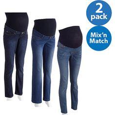 0f6bbcf3f66f0 Oh! Mamma - Maternity Mix 'n Match Full Panel Jeans, 2-Pack Value Bundle -  Walmart.com