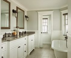 House of Turquoise: JS Interiors - Bathroom w/ sliding door.