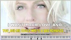"""Bad Romance"" Lady Gaga - karaoke with lyrics on the screen"