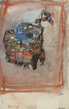 "Joan Eardley  - The Pedlar's Stand"", Mixed media on paper, 6.5 x 4.5 ins"