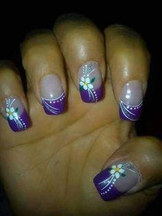 Unhas Francesinhas Com Pedrarias - classic french nails - Purple Nail Art, Purple Nail Designs, Nail Designs Spring, Cool Nail Designs, Nail Art Flowers Designs, French Tip Nail Designs, Blue Nails, Spring Nails, Summer Nails