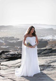 Weightless Fabrics  Choose a flowy lightweight fabric that won't add bulk for an extra slimming effect (David's Bridal)