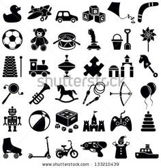 Toys icon collection - vector silhouette illustration by Hein Nouwens, via ShutterStock