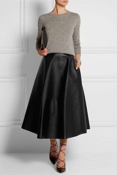 Faldas de cuero: fotos de los modelos - Falda midi cuero Lanvin