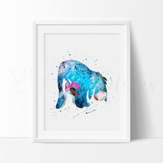 Eeyore, Winnie the Pooh Watercolor Art. This art illustration is a composition of digital watercolor images and silhouettes in a minimalist style.