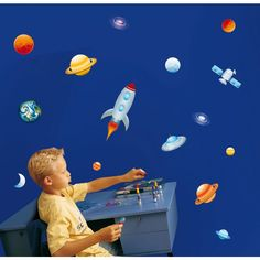 Into Space Stikarounds Repositionable Wall Stickers £9.95  kidswallstickers
