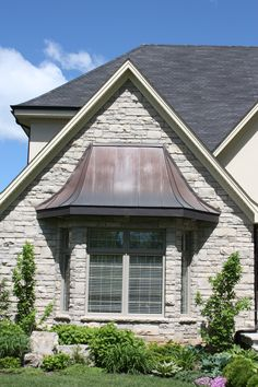 copper roofing over bay windows Copper Roofing Upper Canada Cedar Roof Copper Awning, Metal Awning, Copper Roof, Roof Christmas Lights, Cedar Roof, Window Awnings, Exterior Makeover, Exterior Remodel, House Front