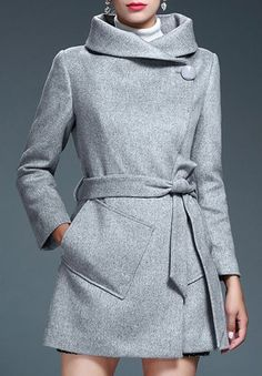 Stylish Turn-Down Neck Long Sleeves Pure Color Pocket Design Women's Coat