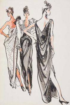 Fashion illustration by Kenneth Paul Block (1925–2009), 1982, Oscar de la Renta, y Oscar de la Renta, W Magazine.