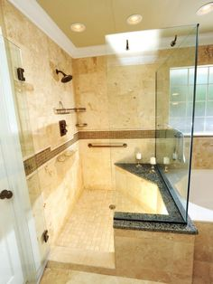 Browse pictures of showers packed with luxury features, from rain showerheads to built-in seating.