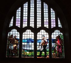 The stained glass window above the entrance to Livingstonia church (photo courtesy of Albert Smith)
