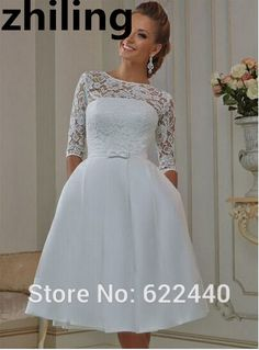 Knee Length Short Wedding Dresses Vintage Lace Wedding Gown Three Quarter  Sleeves Bridal Gown Custom Size 699071629e94
