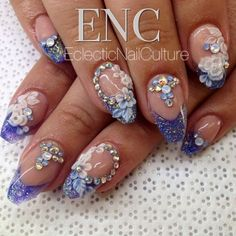This gorgeous 'Cinderella Nails' by @Jana Warnke. Beautifully arranged flowers and our Opal Swarovskis! Shop Swarovskis at www.InTheNailRoom.com Us Nails, Love Nails, Cinderella Nails, Nail Room, Swarovski Nails, Nail Arts, Flower Arrangements, Nail Designs, Art Pieces
