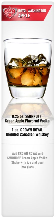 Royal Washington Apple drink recipe with Smirnoff Green Apple Flavored Vodka and Crown Royal Blended Canadian Whiskey. Vodka Cocktails, Cocktail Drinks, Cocktail Recipes, Alcoholic Drinks, Drink Recipes, Whiskey Drinks, Cocktail Parties, Martinis, Apple Crown Drinks
