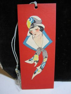 Art deco Gibson 1920'3-30's flapper girl  wearing cloche hat  with matching scarf bridge tally 1920s -30's