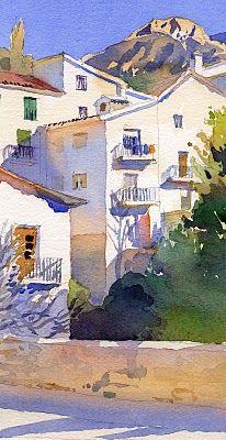 Barcelona, Cazorla, Spain, Terrazas, Watercolors by M i c h a e l  R e a r d o n