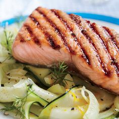 """Brown Sugar-Grilled Salmon with Zucchini and Fennel """"Noodles ..."""