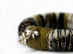 Boho green BRACELET - Handmade big Round woolen yarns wrapped bangle with beads