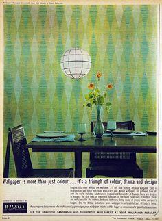 Vintage wallpaper advert, 1965.