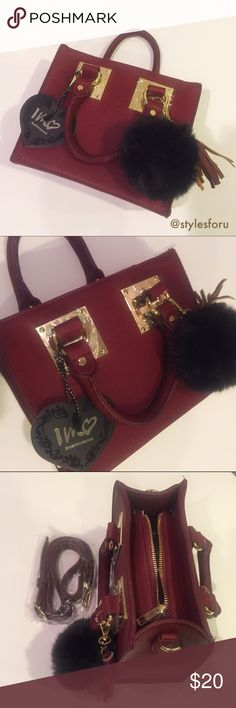 """NWT.Small wine red tote, with strap & free pompom NWT. Amal wine red tote with an adjustable attachment strap. Comes with a free black pom pom that can be removed. Gold metal features. Inside zipper and Amal compartment. Size: 8""""x7""""x4"""". About 21""""-27"""" long depending on he adjustment. Sorry, no trades. Like the item but not the price, feel free to make me a reasonable offer using the offer button. Bags Mini Bags"""