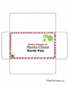 Free Santa Letter  Envelope Printable  Envelopes Santa And