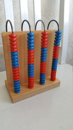 Vintage abacus, this model was in educational use in Finnish schools in the Material is lacquered wood, metal and plastic beads. Plastic Beads, Buy And Sell, Education, Metal, Wood, Handmade, Stuff To Buy, Vintage, Woodwind Instrument