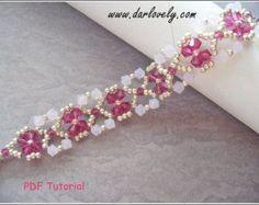 Beaded Bracelet Pattern - Ruby Rose Water Flower Bracelet (BB189) - Beading Jewelry PDF Tutorial (Digital Download)