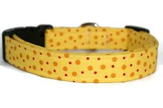 Yellow and Red Polka Dot Dog Collar by ALeashACollar on Etsy Handmade Dog Collars, Handmade Gifts, Polka Dots, Belt, Personalized Items, Trending Outfits, Yellow, Unique Jewelry, Dogs