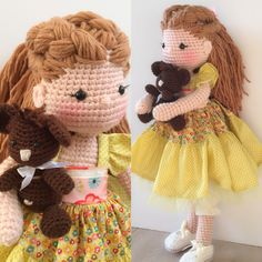 Country amigurumi doll and her little crochet teddy