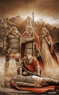 death of Baldr, god of light and purity in Norse mythology, son of Odin and Frigg