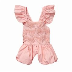 2017 New Infant Baby Girl Lace Romper Cute Jumpsuit Toddler Summer Clothes Outfit 1-5Y