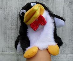 penguin hand puppet custom order- Puppets in a bag