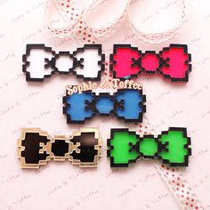 Pixel Bow Laser Cut Acrylic Flatback Cabochon by SophieToffeeCo, $5.32