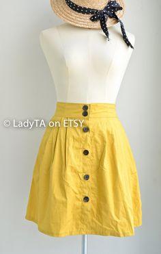 60's Style Short Full Skirt in  Yellow Short Skirt Mini by LadyTA, $28.99