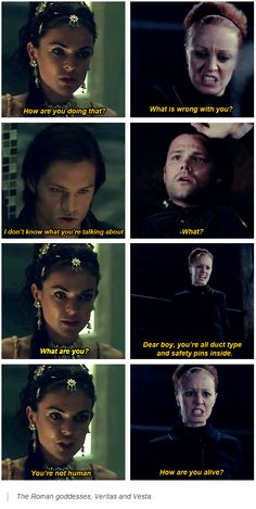 Roman goddesses, Veritas and Vesta  on Sam.  6x06 You Can't Handle The Truth and 9x08 Rock And A Hard Place.