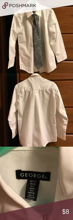 Boys white dress shirt with clip on tie. White button down dress shirt with clip on tie. Used only a few times. Boys size XS (4-5). George Shirts & Tops Button Down Shirts