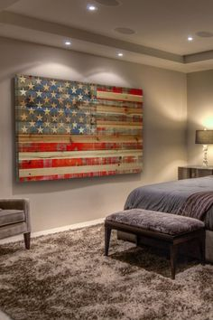 American Dream Brown Distressed Wood Wall Art by Parvez Taj on @HauteLook Diy Wood Projects, Home Projects, Wood Flag, Pallet Flag, New Wall, How To Distress Wood, Wood Wall Art, Sweet Home, New Homes