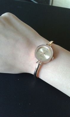 The most essential for a girl- stylish rose gold Anne klein delicate watch.