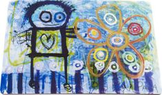 Poul Pava is a artist from Denmark. He's painting in a naive and spontaneous style and he has specialized in painting the child in all of us. The creative brain of Poul Pava provide every time for a beautiful contrast between the colors and figures. Flower Canvas, Love Flowers, Scandinavian, Creative, Sort, Illustration, Artist, Artwork, Journal Ideas